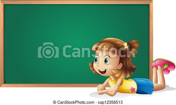 A little girl and a board - csp12356513
