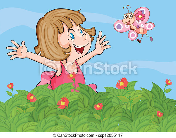 a little girl and a butterfly in the garden csp12855117 - The Girls In The Garden