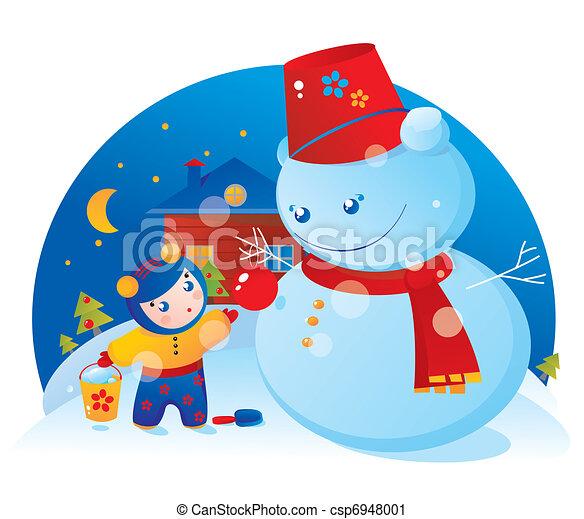 A little girl and a snowman  - csp6948001