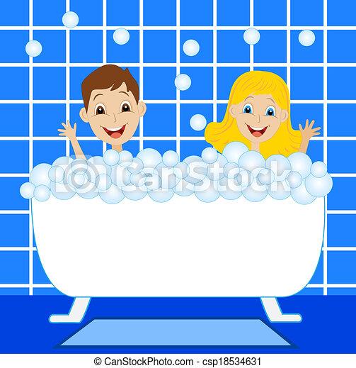 a little girl and boy bath in bath  - csp18534631