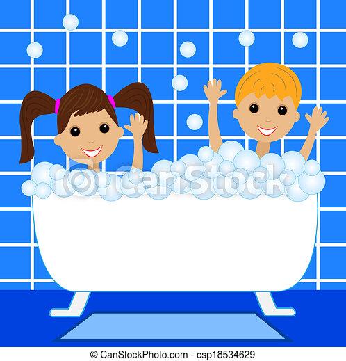 a little girl and boy bath in bath  - csp18534629