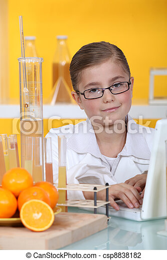 A little girl in a lab. - csp8838182