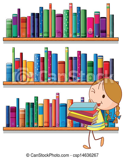 a little girl in the library illustration of a little girl in the rh canstockphoto com clipart library clipart dc45b54gi htm clipart library design paper