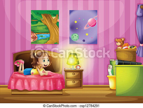 A little girl inside her colorful room - csp12784291