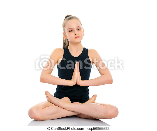 a little girl is meditating in a lotus pose a nice little