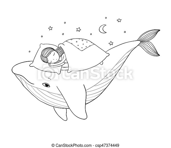 A little girl is sleeping on a whale. Cozy bed. sea theme. Hand drawing isolated objects on white background. - csp47374449