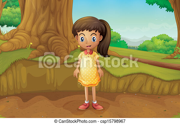 A little girl near the roots of a giant tree - csp15798967