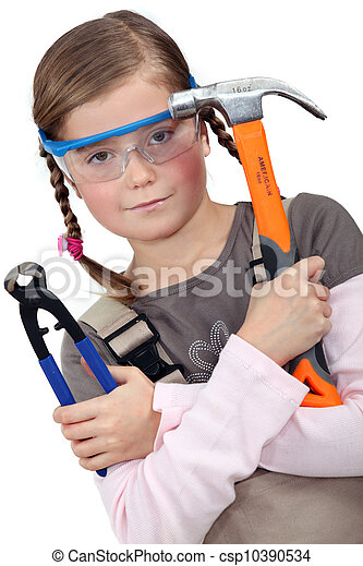 a little girl with tools - csp10390534