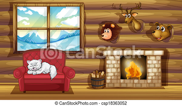 A living room with stuffed animal head decors - csp18363052