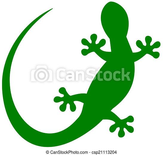 a lizard in green shadow - csp21113204