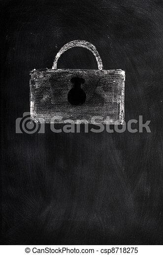 A Lock drawn with chalk - csp8718275