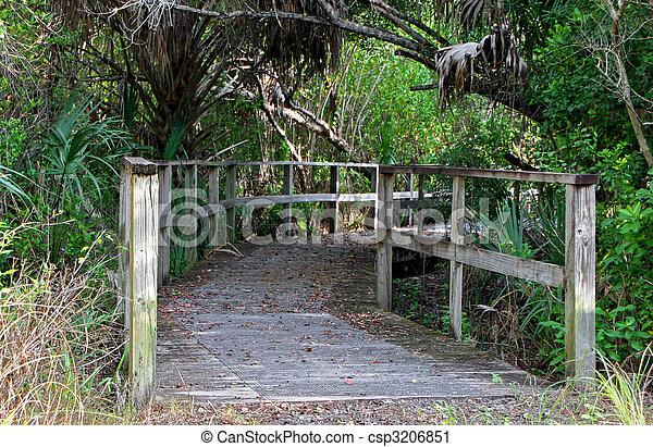 a long wooden boardwalk bridge Sanibel Florida - csp3206851