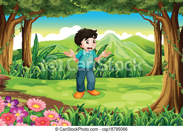 A lost young man in the middle of the forest - csp18795066