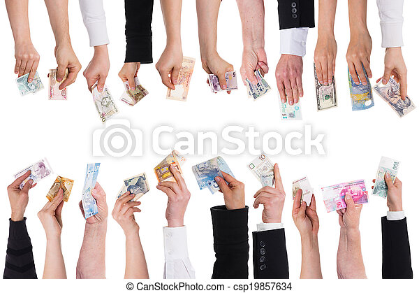 a lot of hands with important currencies - csp19857634