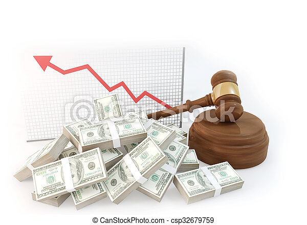 a lot of Money for auction with business chart - csp32679759
