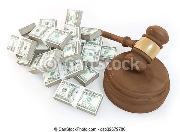 a lot of Money with auction - csp32679780