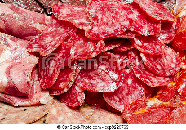 a lot of Spanish serrano ham iberico - csp8220763