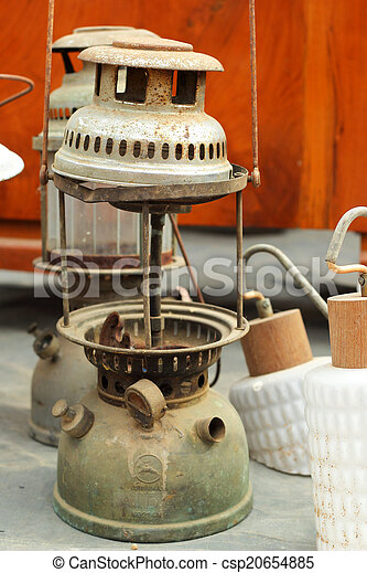 A lot of vintage dirty oil lamp - csp20654885