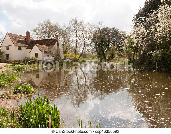 A Lovely Shot of the Water and Cottage Down at Flatford Mill - csp46358592