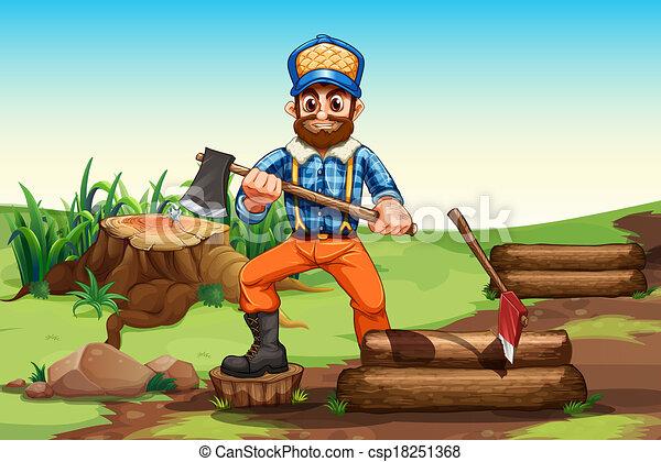 A lumberjack chopping woods - csp18251368
