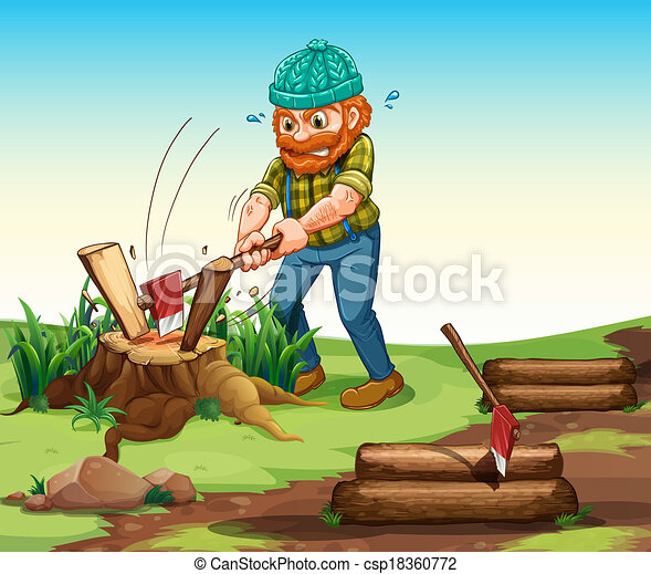 A lumberjack chopping woods - csp18360772