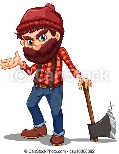 A lumberjack holding a sharp axe - csp16868892