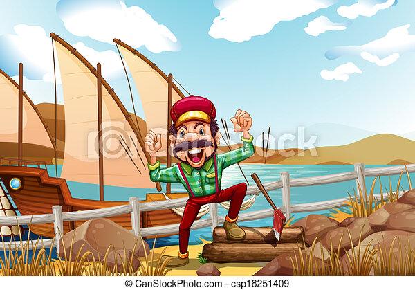 A lumberjack shouting - csp18251409