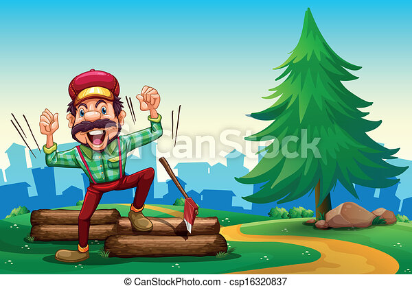 A lumberjack shouting while chopping the woods - csp16320837