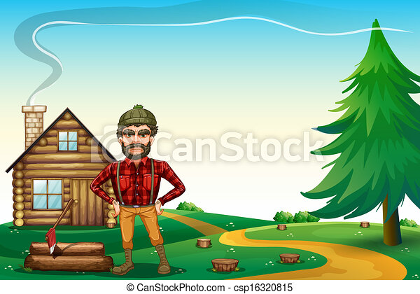 A lumberjack standing in front of the wooden farmhouse - csp16320815
