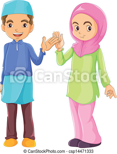 A male and a female muslim. Illustration of a male and a ...