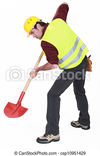 A male construction worker digging. - csp10951429