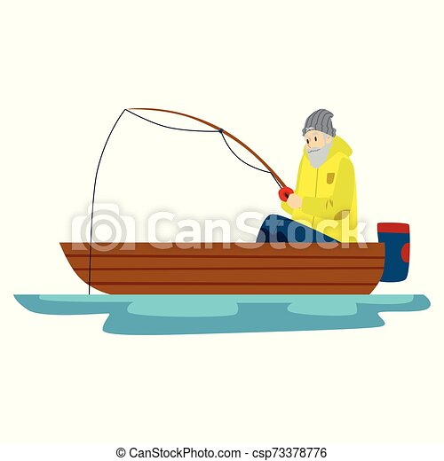 A Male Fisherman With A Bread Is Fishing On A Lake Or River An Old Man Fishing In A Boat Isolated Vector Flat Illustration