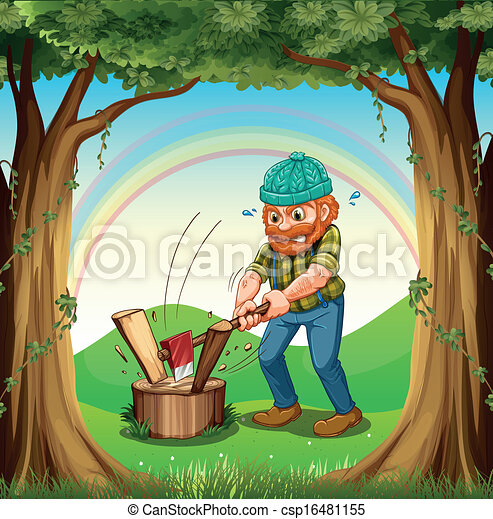 A man chopping the woods near the trees - csp16481155