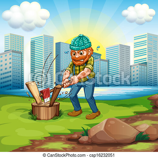 A man chopping woods across the tall buildings - csp16232051