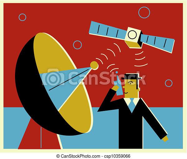 A man communicatng via satellite communication - csp10359066