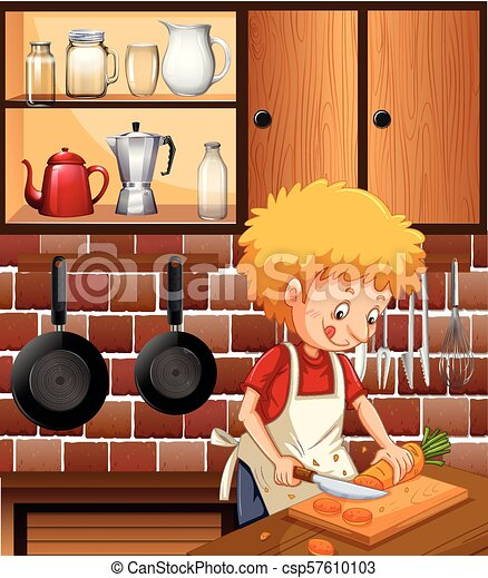 A Man Cooking in the Kitchen - csp57610103
