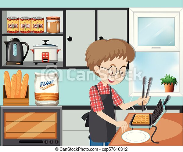 A Man Cooking Waffle in Kitchen - csp57610312