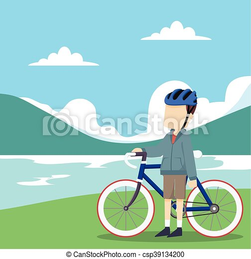 a man cyclist in nature - csp39134200
