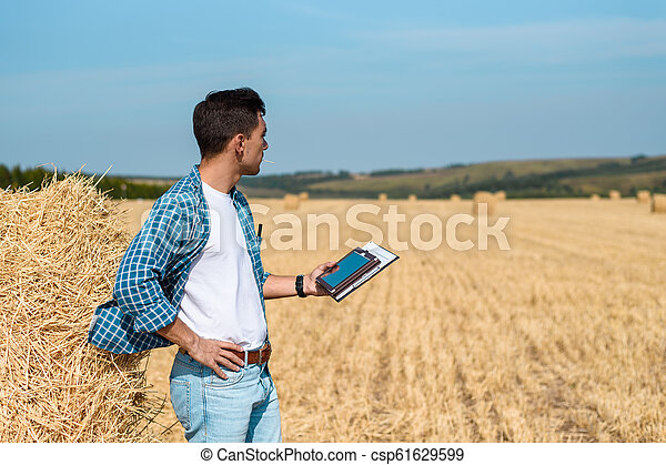 A man farmer in jeans and a shirt with a tablet in his hands is in the field - csp61629599