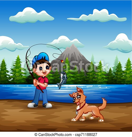 A man fishing with his pet in the river - csp71188027