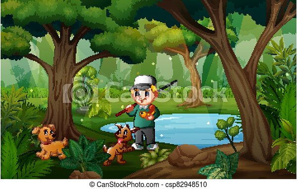 A man fishing with his pet in the small pond - csp82948510