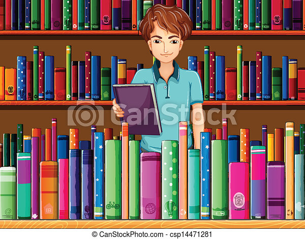 A man holding a book in the library - csp14471281