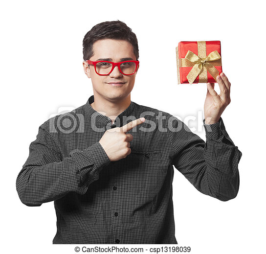 A man holding present box on white background. - csp13198039