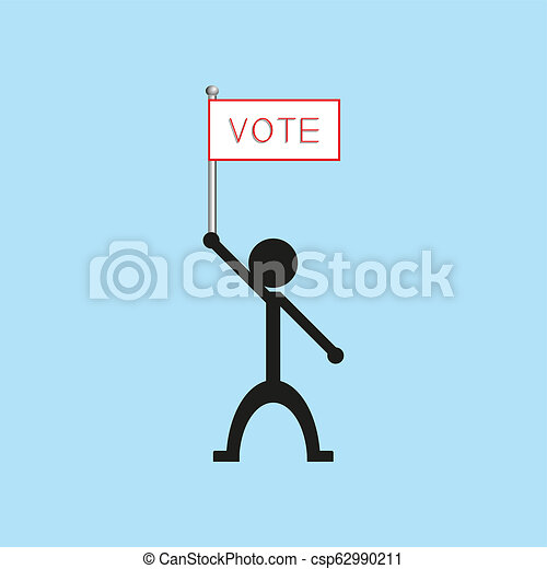 """A man holds a poster with the word """"vote"""". illustration. - csp62990211"""