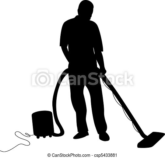 a man hoovering - csp5433881