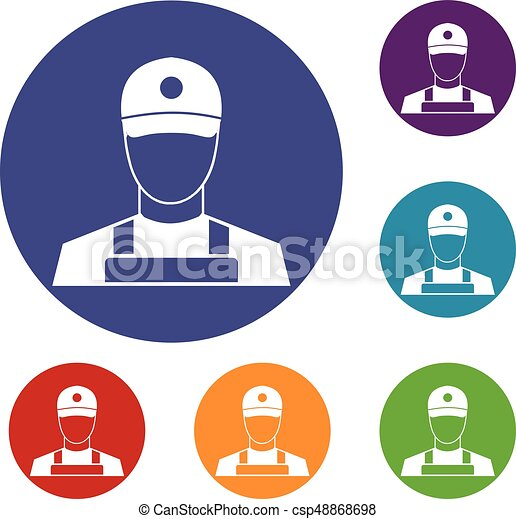 A man in a cap and uniform icons set - csp48868698