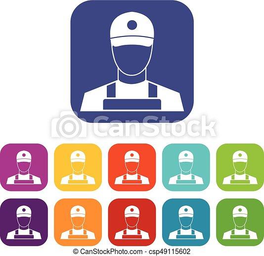 A man in a cap and uniform icons set - csp49115602