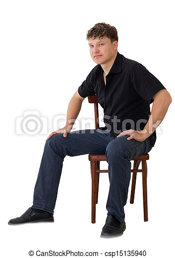 a man in a chair on a white background - csp15135940
