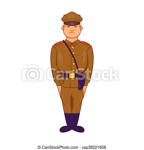 A man in army uniform icon, cartoon style - csp38221658