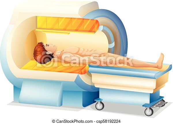 A Man in MRI Scanner - csp58192224